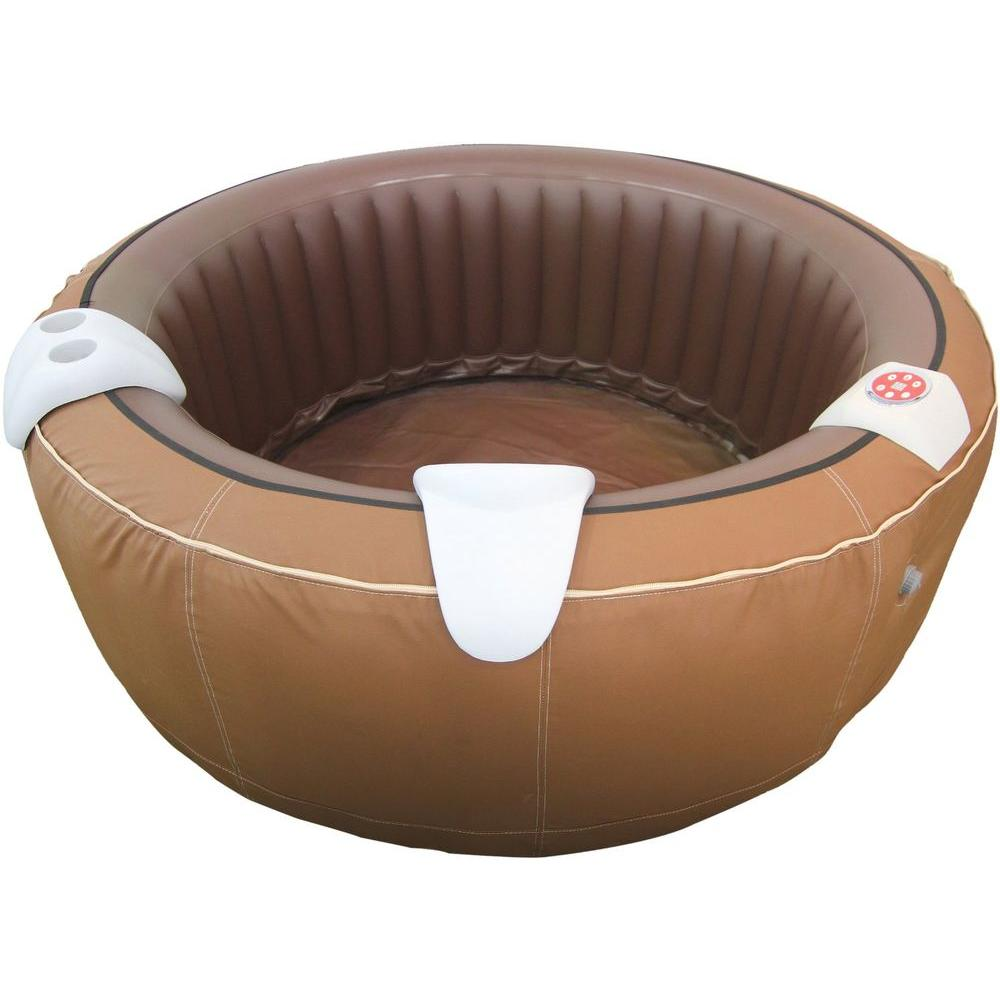 TheraPureSpa 4-Person Faux-Leather Portable Inflatable Hot Tub Spa