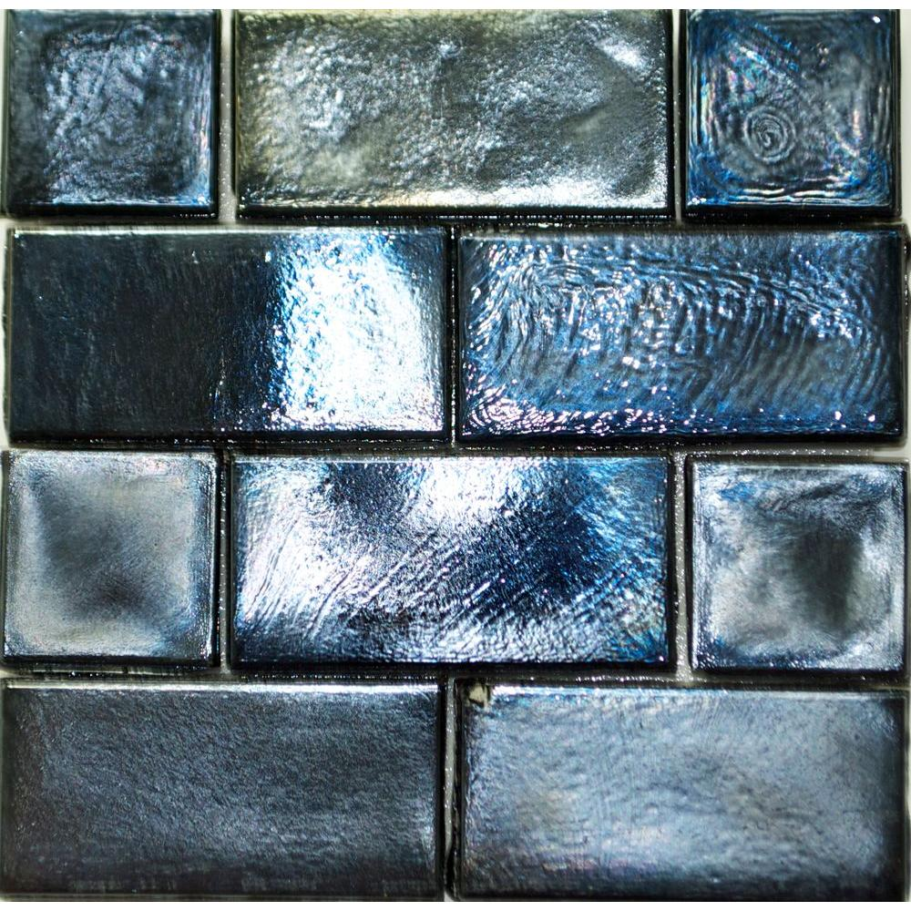 Studio E Edgewater Black Sand Glass Mosaic & Wall Tile - 5 in. x 5 in. Tile Sample-DISCONTINUED