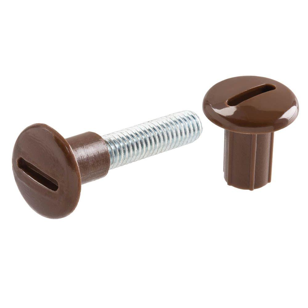 Everbilt 6 mm x 34 mm Zinc-Plated Connecting Screw with Brown Plastic Slotted Caps