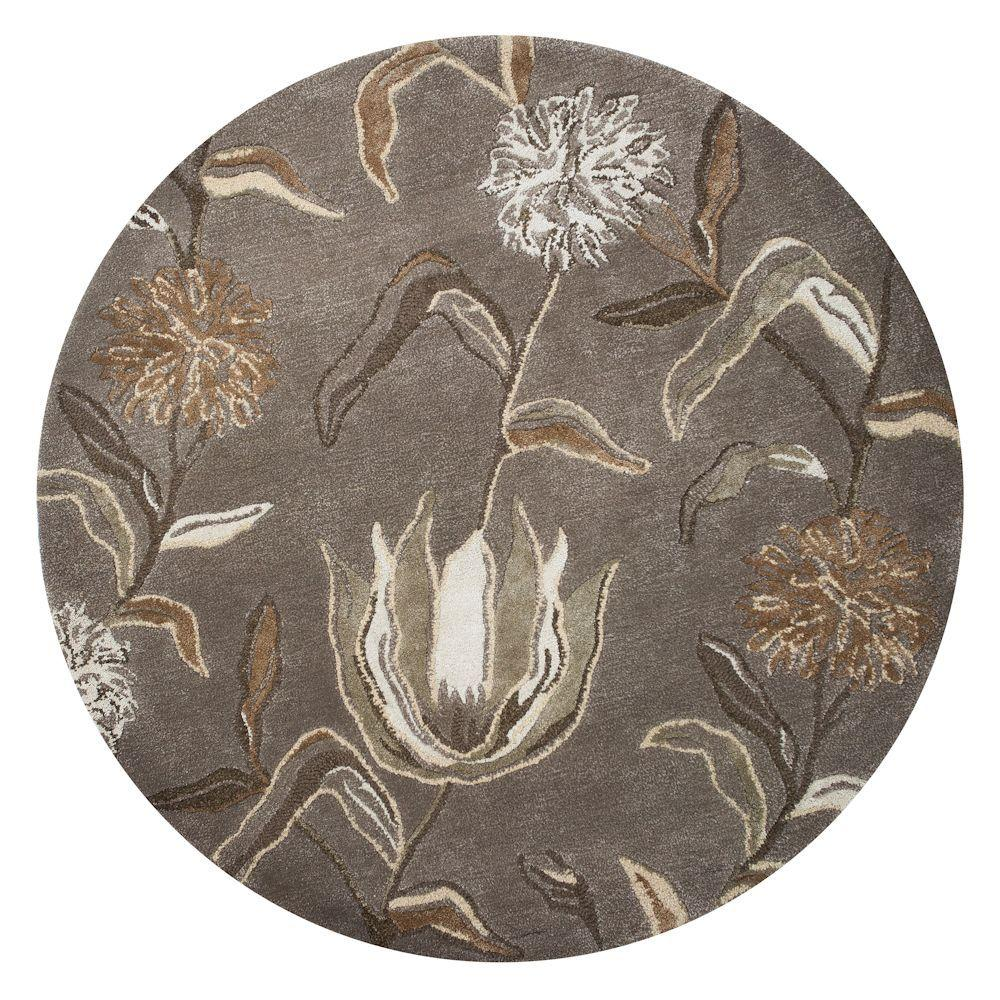 Kas Rugs Flowers at Dust Silver 5 ft. x 5 ft. Round Area Rug