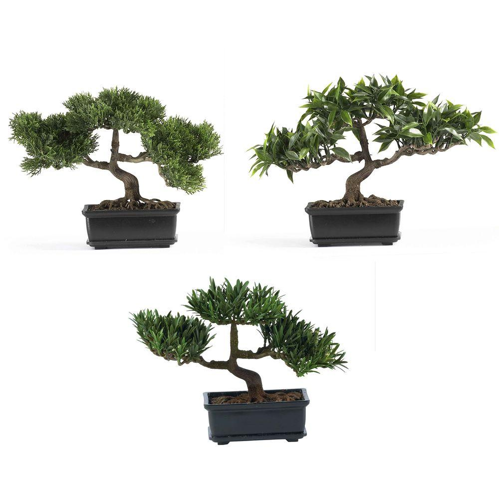 Nearly Natural 12 in. Bonsai Silk Plant Collection (Set of 3)
