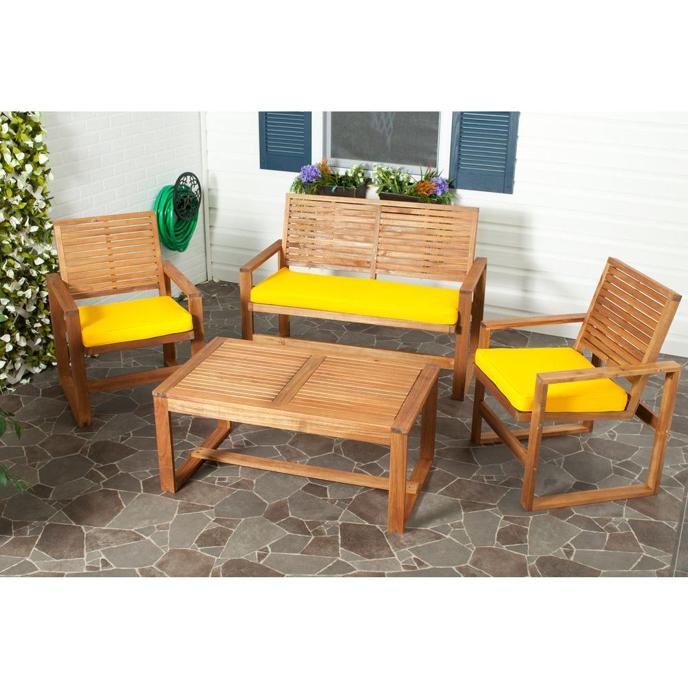 Ozark 4-Piece Patio Seating Set with Yellow Cushions
