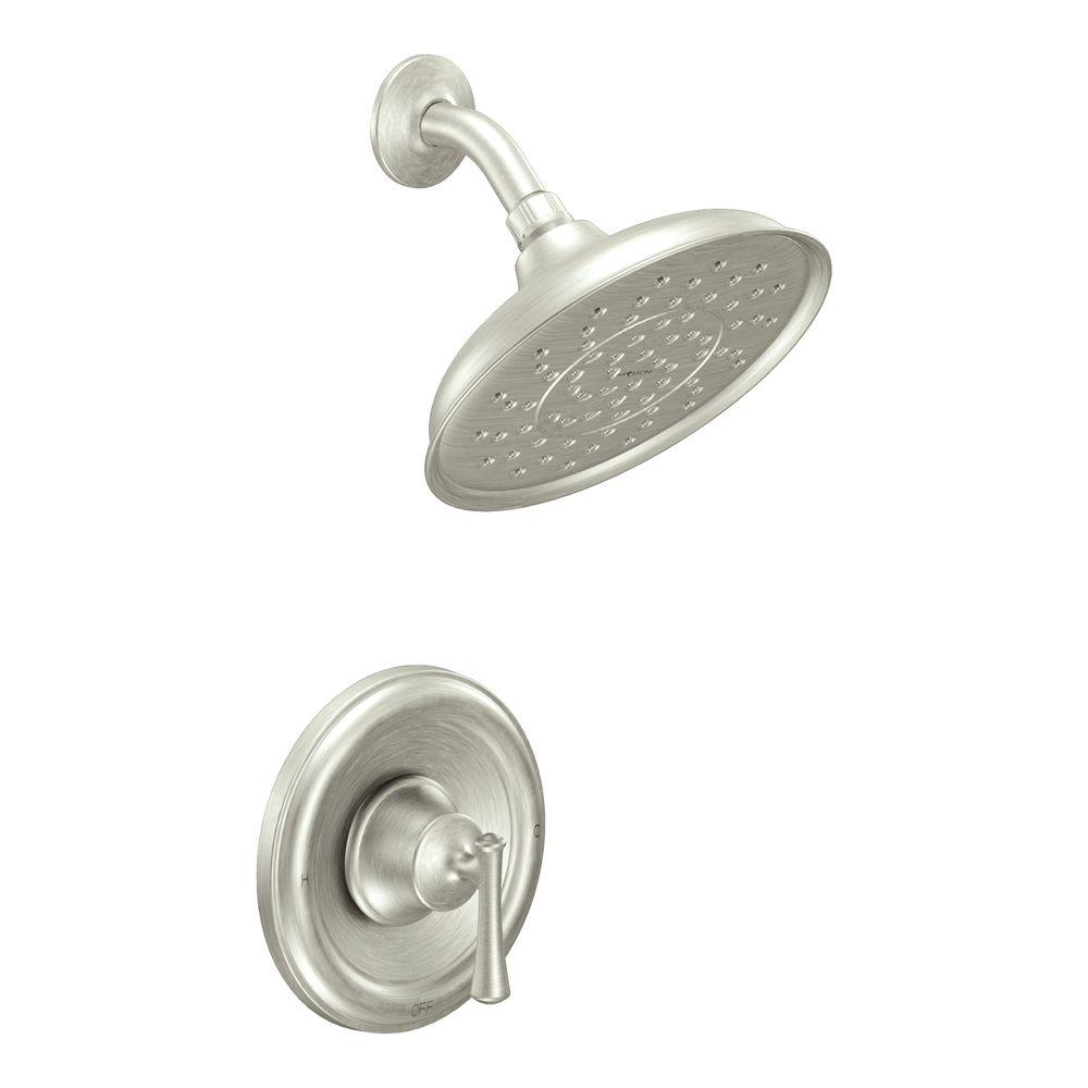 MOEN Ashville Eco-Performance Single-Handle 1-Spray Shower Faucet with Valve in Spot Resist Brushed Nickel