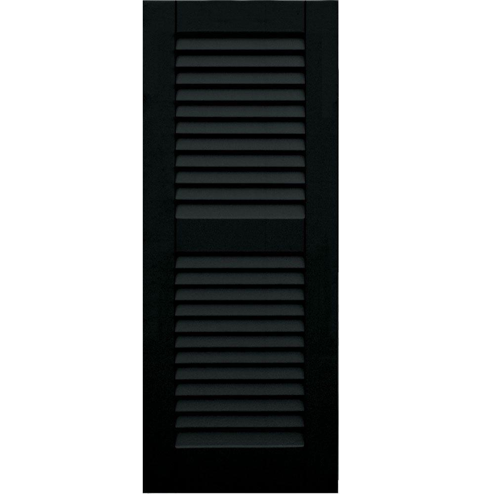 Louvered: Winworks Shutters & Hardware Wood Composite 15 in. x 38 in. Louvered Shutters Pair #653 Charleston Green 41538653