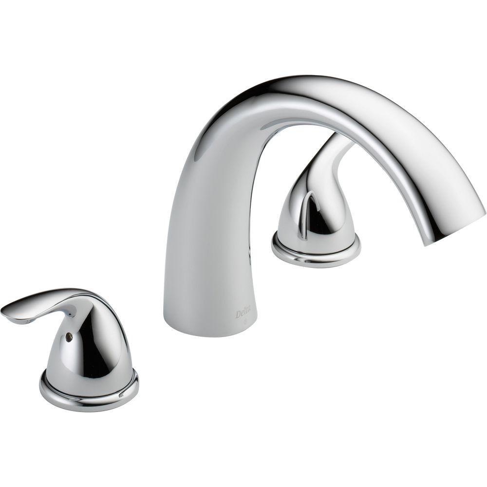 Delta Classic 2-Handle Deck-Mount Roman Tub Faucet Trim Kit Only in Chrome (Valve Not Included)