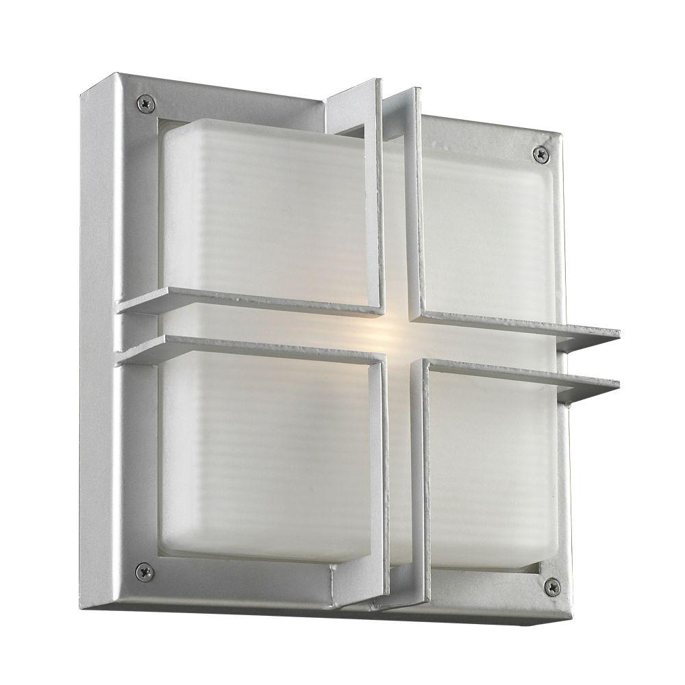 PLC Lighting 1-Light Outdoor Silver Wall Sconce with Frost Glass