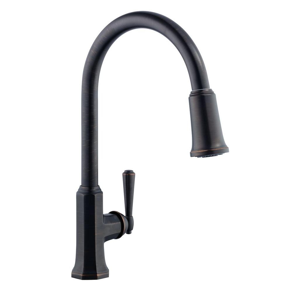 superb Pegasus Kitchen Faucets #1: Sentio Single-Handle Pull-Down Sprayer Kitchen Faucet in Mediterranean  Bronze