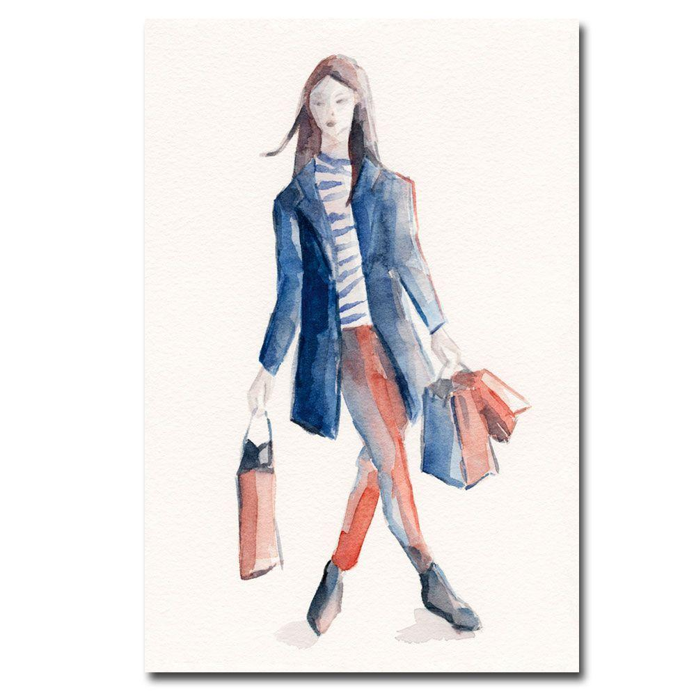 null 16 in. x 24 in. Woman Shopping Blue and White Canvas Art-DISCONTINUED