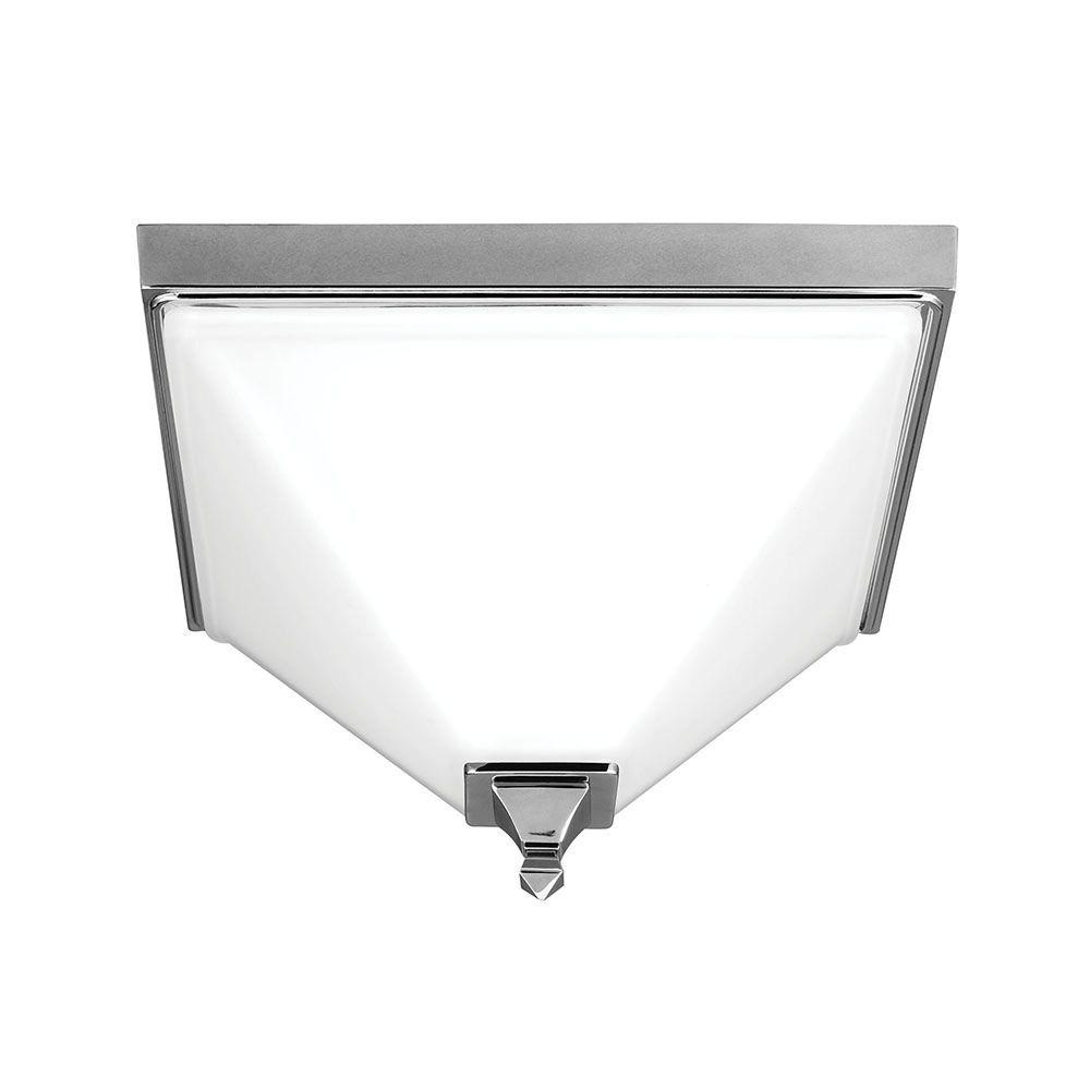 Sea Gull Lighting Denhelm 2-Light Chrome Ceiling Flushmount with Inside White Painted Etched Glass