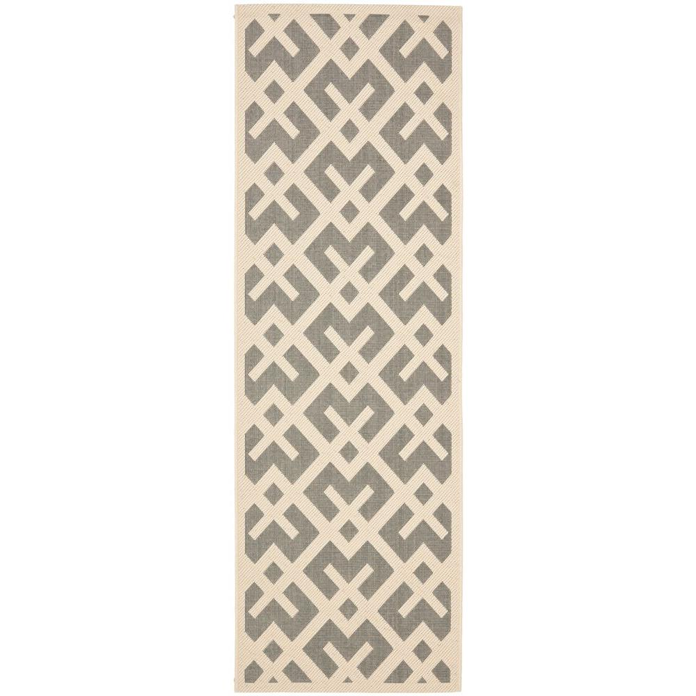Courtyard Gray/Bone 2 ft. 3 in. x 10 ft. Indoor/Outdoor Runner
