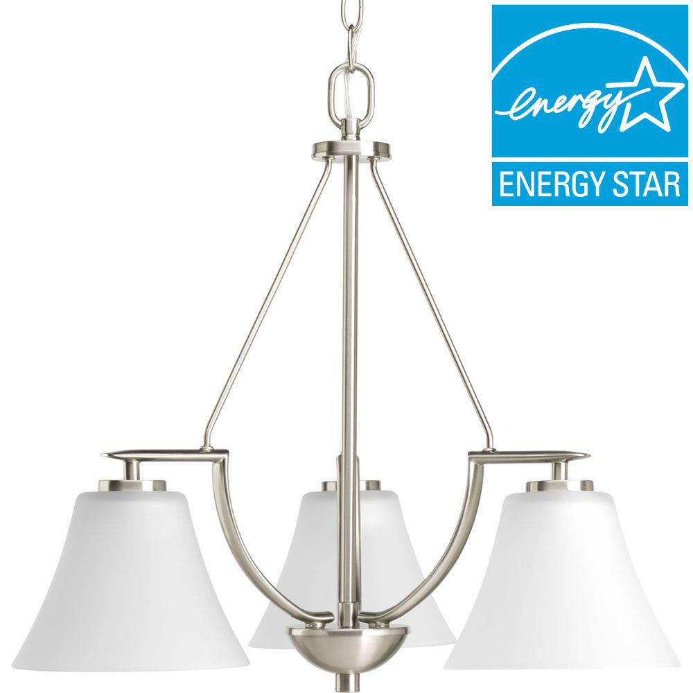 Progress Lighting Bravo Collection 3-Light Brushed Nickel Chandelier-P4621-09WB