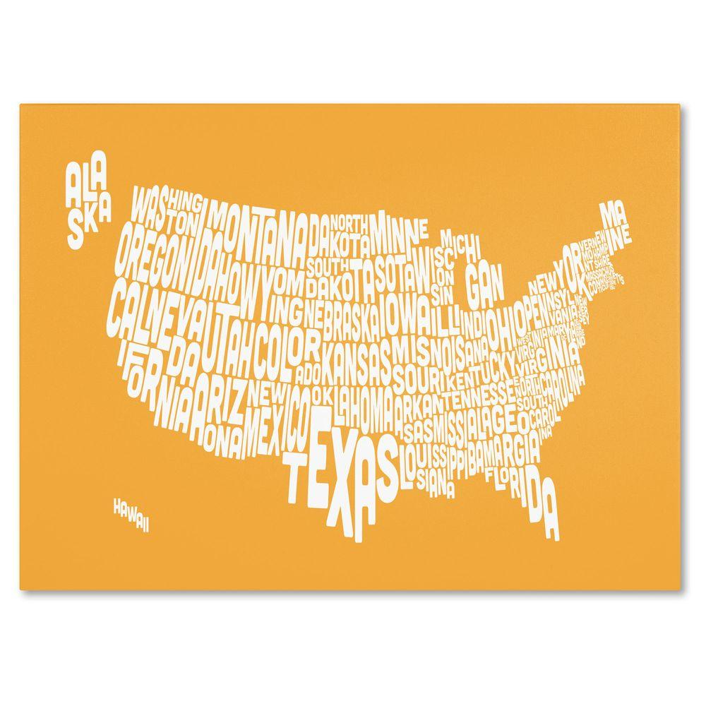 Trademark Fine Art 22 in. x 32 in. USA States Text Map - Sunset Canvas Art