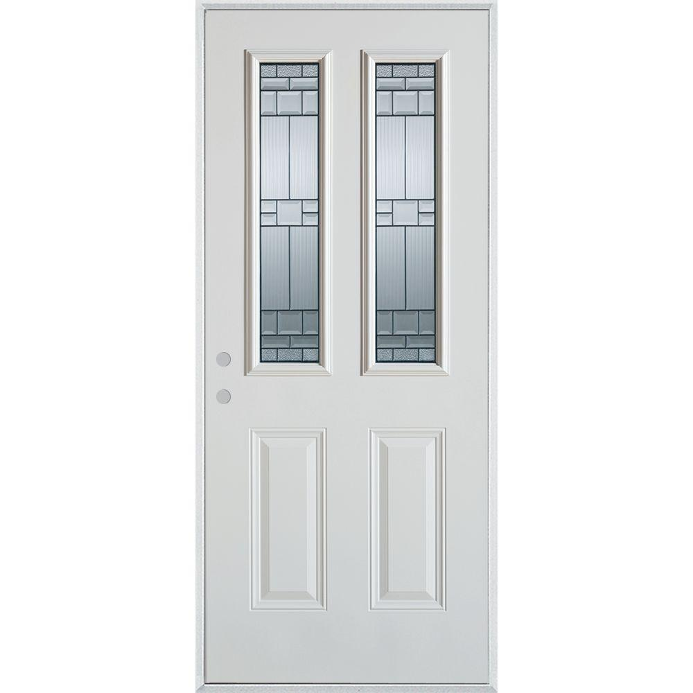 Stanley Doors 32 in. x 80 in. Architectural 2 Lite 2-Panel Painted White Steel Prehung Front Door, Prefinished White/Zinc Glass Caming