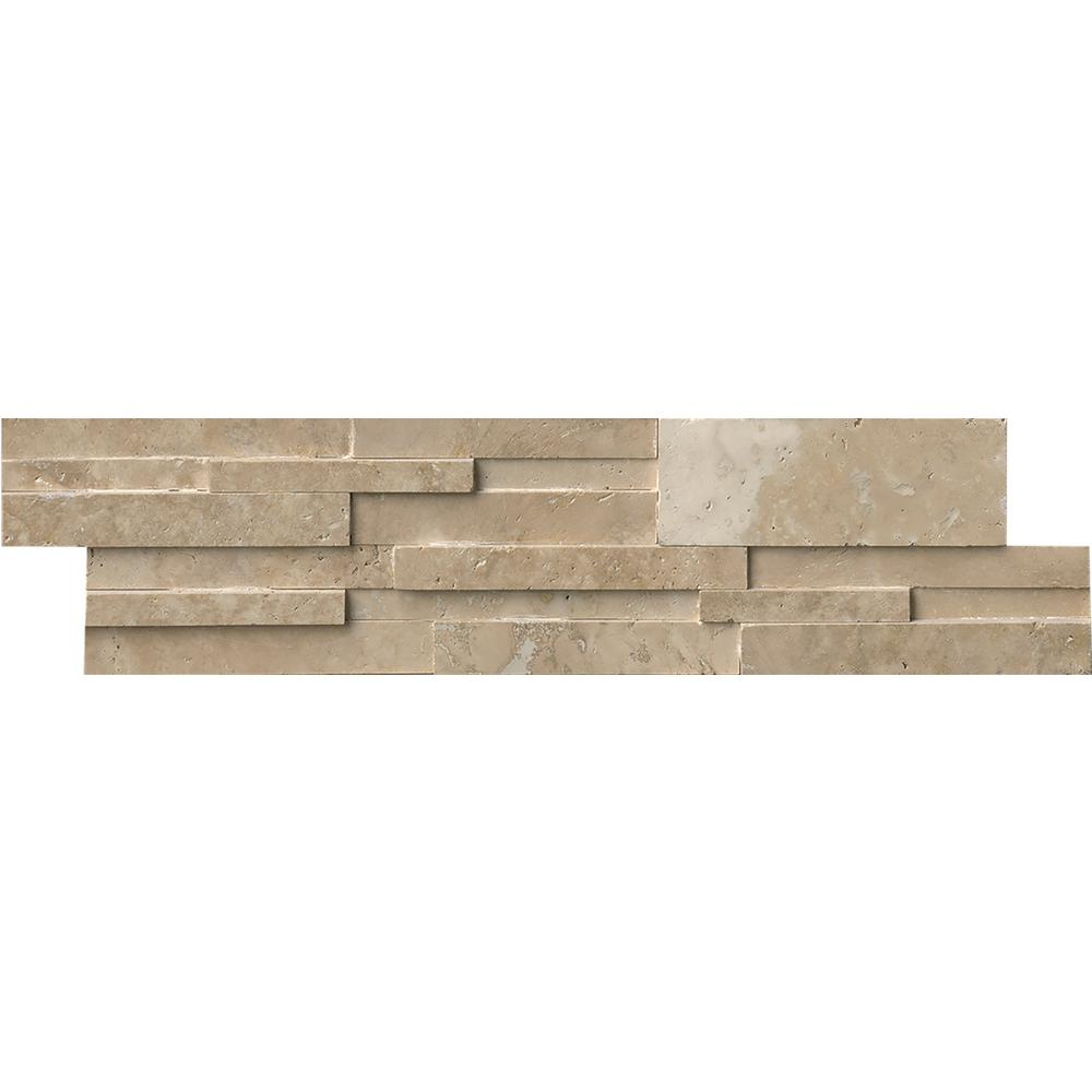 Durango Cream 3D Ledger Panel 6 in. x 24 in. Honed