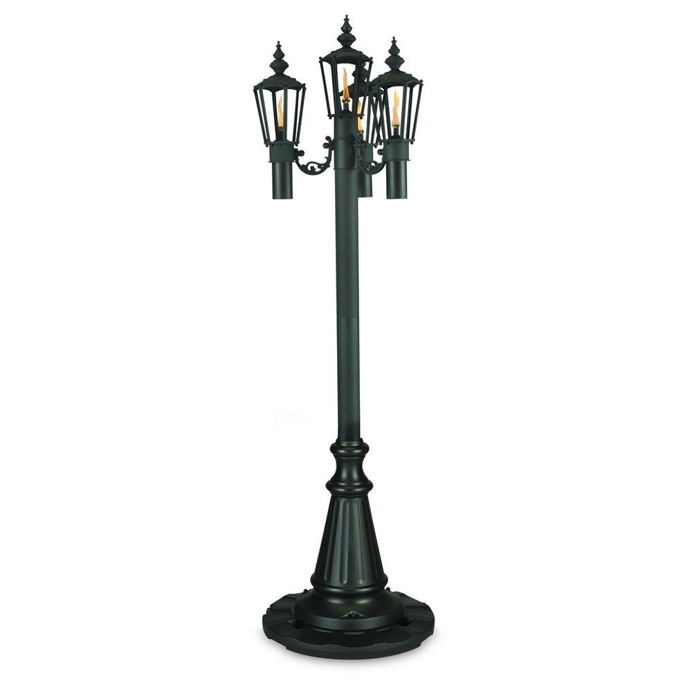 85 in. Islander Citronella Four Flame Outdoor Black Park Style Post