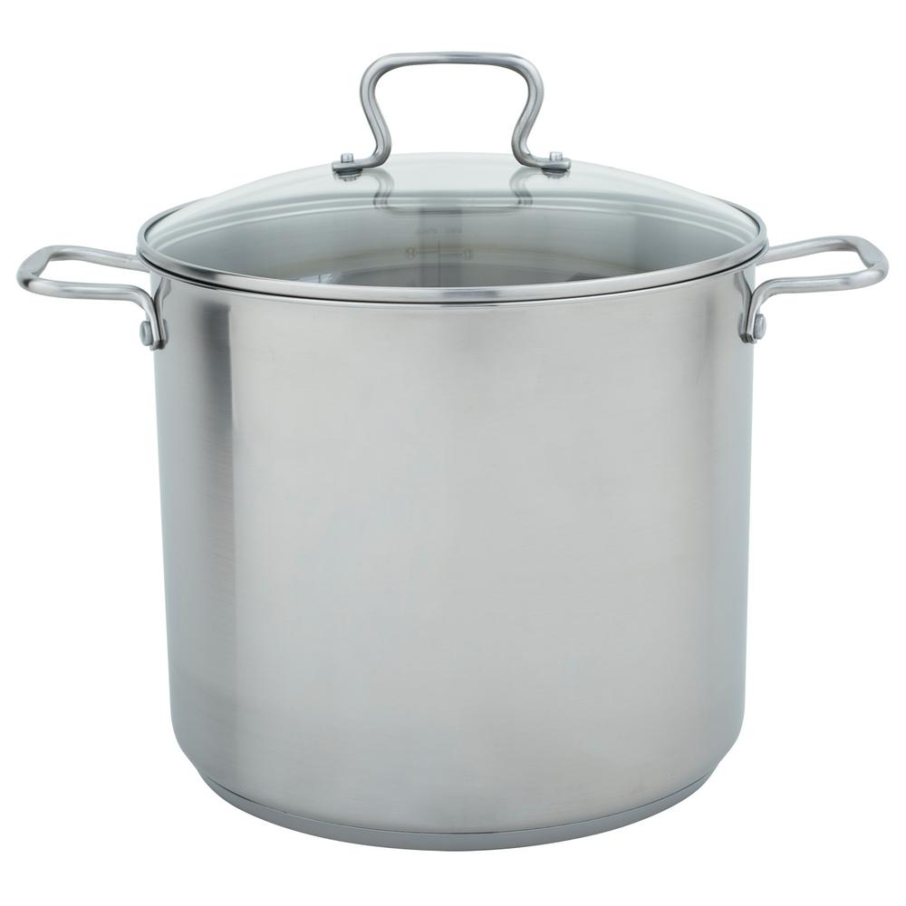 16 Qt. Stock Pot in Stainless Steel with Lid