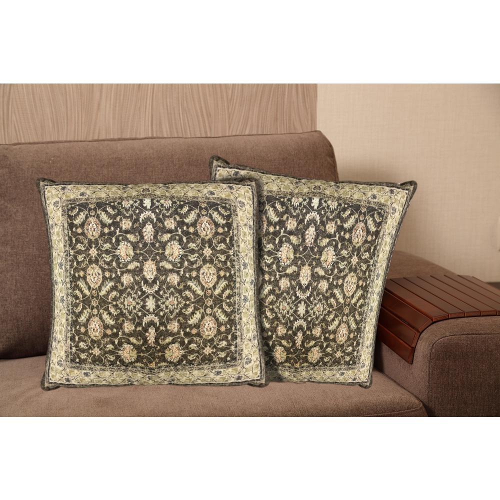 Printed Cotton 20 in. Brown Decorative Pillow