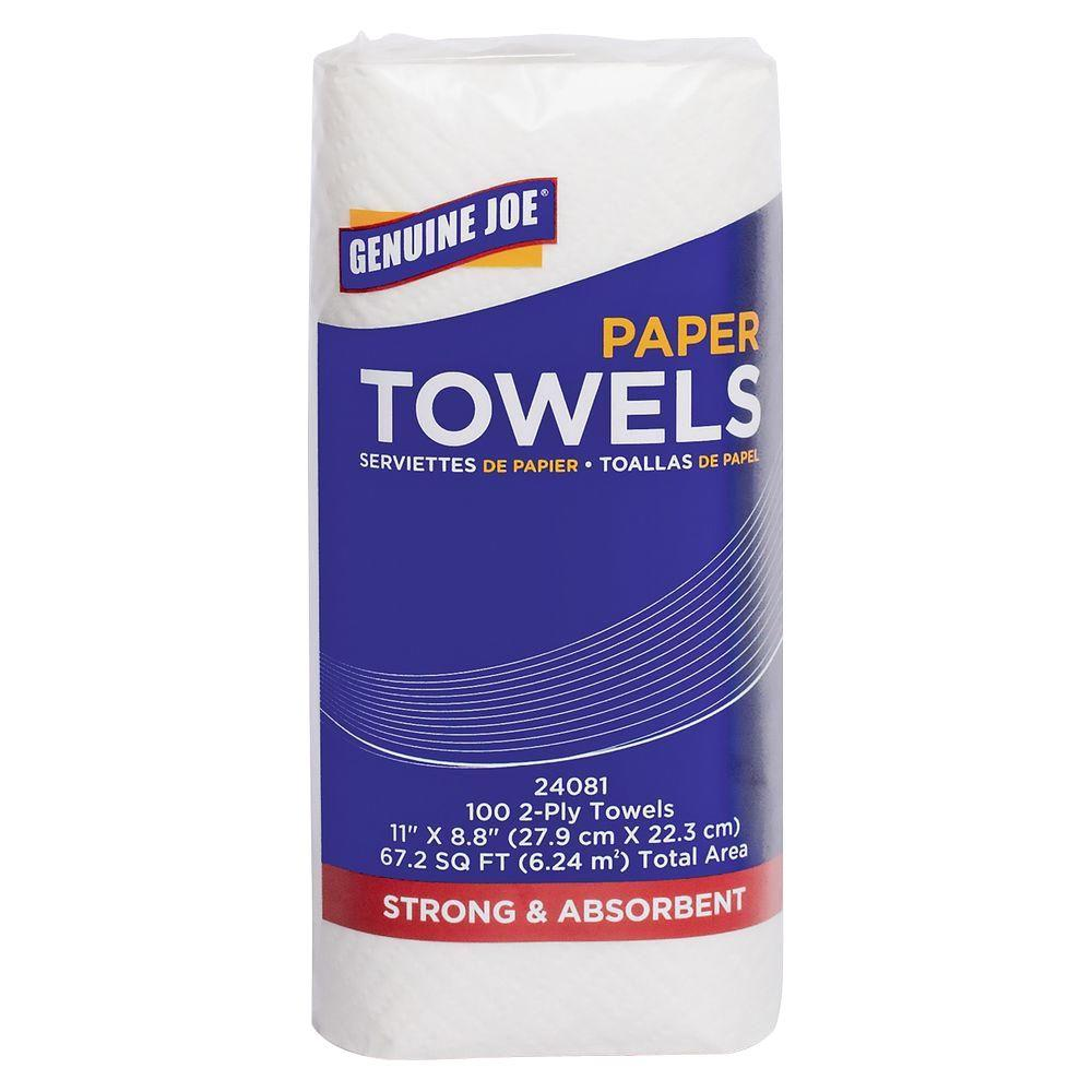 Genuine Joe Household Roll Paper Towels 2-Ply (100 Sheets per Roll)-GJO24081