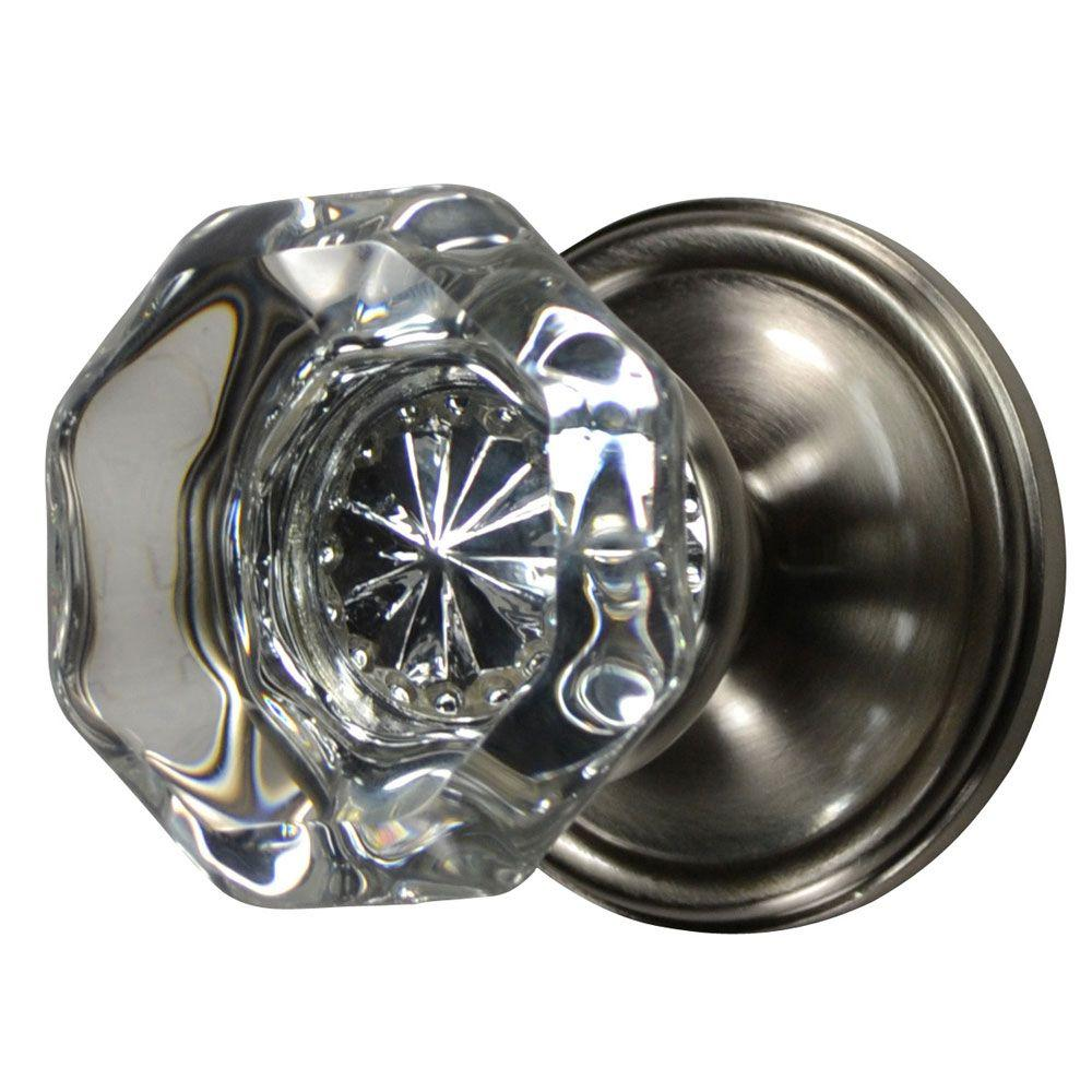 Copper Mountain Hardware Brushed Nickel Crystal Octagon Privacy Door Knob