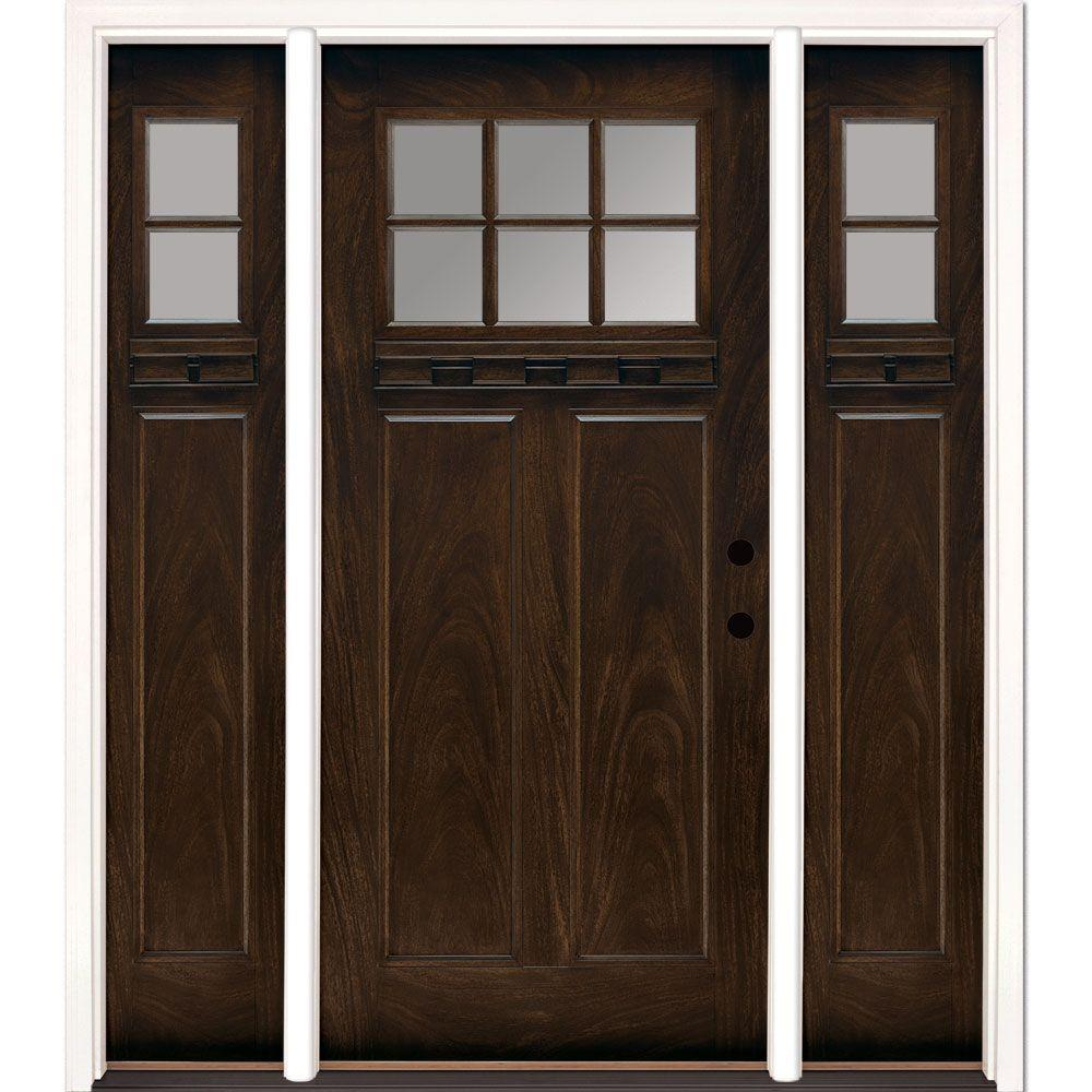 Feather River Doors 67.5 in.x81.625 in. 6 Lt Clear Craftsman Stained Chestnut Mahogany Left-Hand Fiberglass Prehung Front Door w/ Sidelites