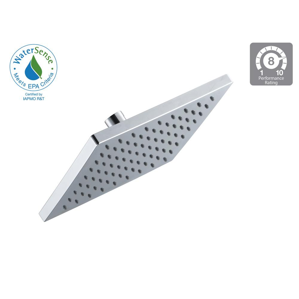 Modern 1-Spray 8 in. Square Fixed Shower Head in Chrome