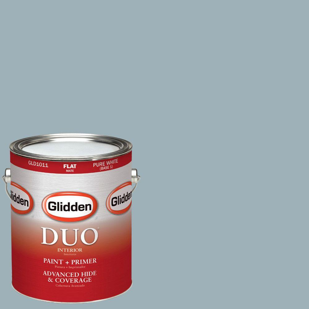 Glidden DUO 1-gal. #HDGCN32D Soft Traditional Blue Flat Latex Interior Paint with Primer