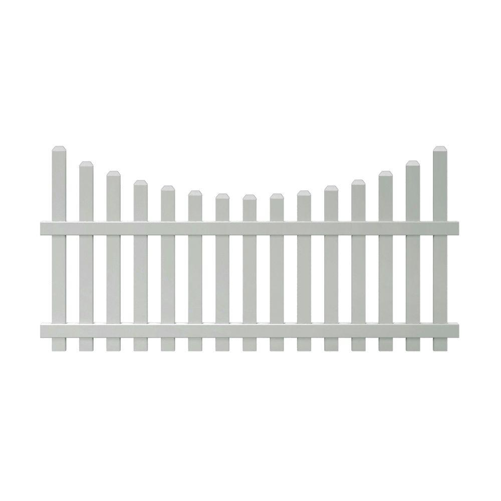 null Glendale 4 ft. H x 8 ft. W Vinyl Scalloped Top Spaced Picket Unassembled Fence Panel with 3 in. Dog Ear Pickets