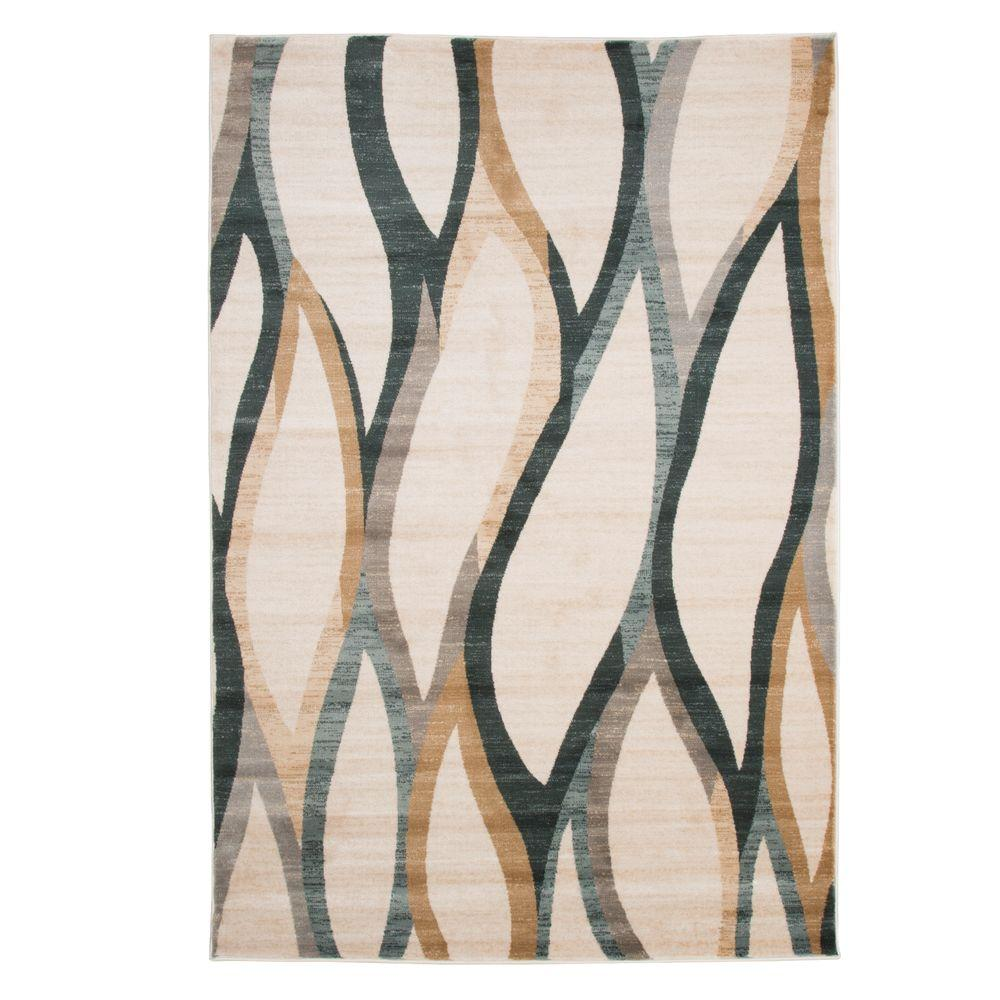 Opus Contemporary Curves Cream 8 ft. x 10 ft. Area Rug