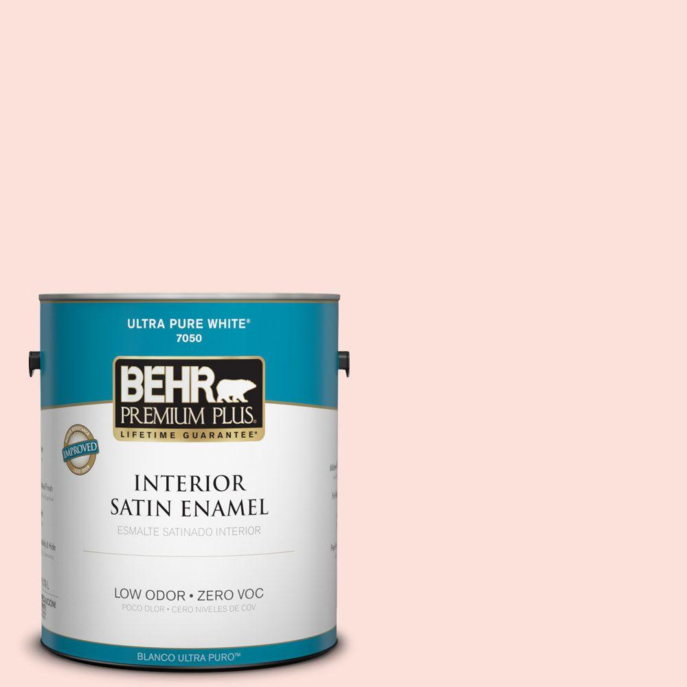 BEHR Premium Plus 1-gal. #200A-1 Peach Cloud Zero VOC Satin Enamel