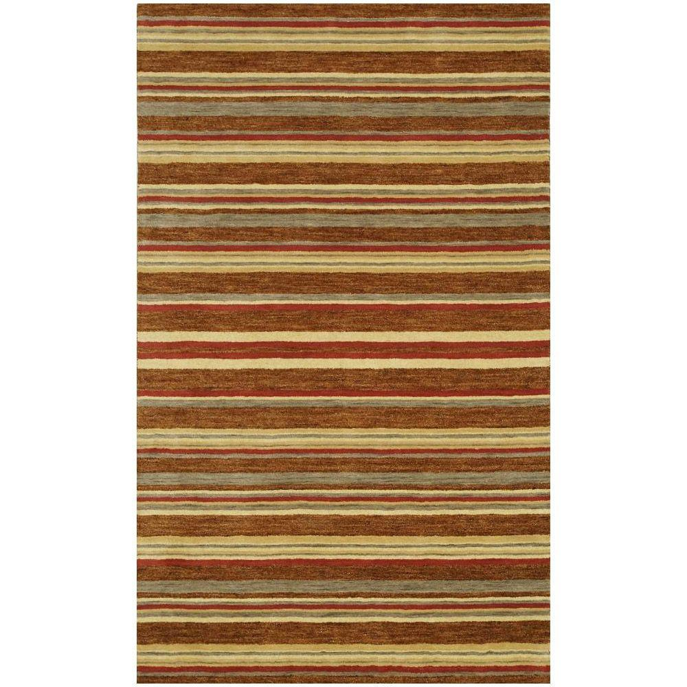 BASHIAN Contempo Collection Stripes Red Multi 7 ft. 6 in. x 9 ft. 6 in. Area Rug