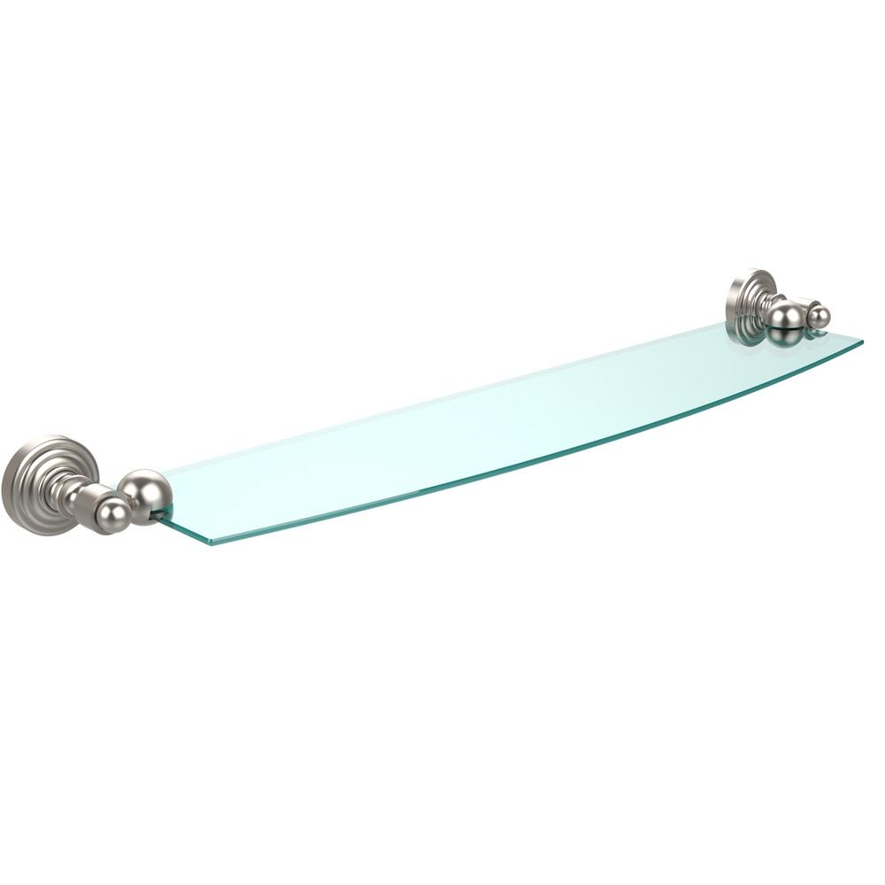 Waverly Place 24 in. Glass Shelf in Satin Nickel