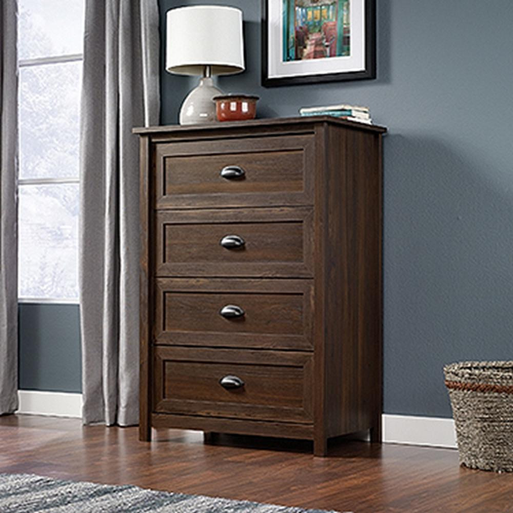 SAUDER County Line Collection 4-Drawer Chest in Rum Walnut-415996 - The