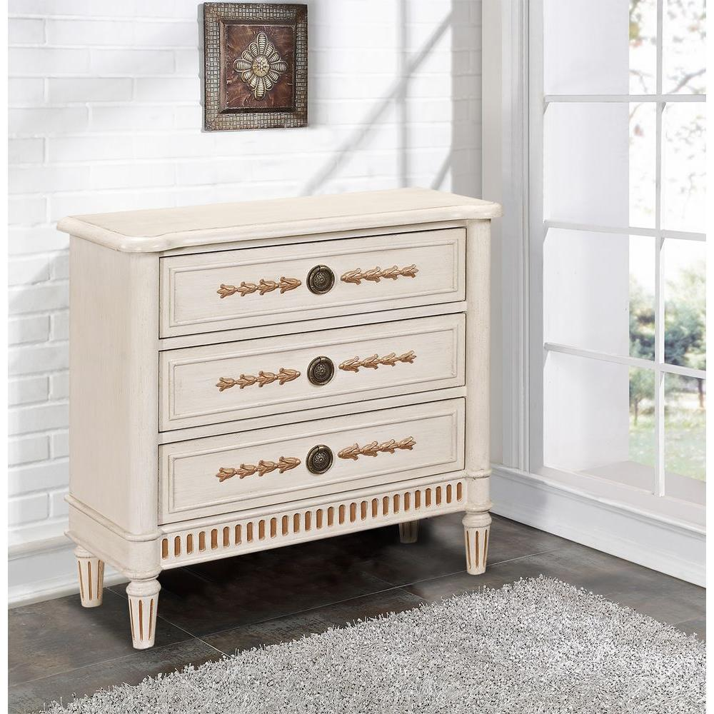 Pulaski Furniture Fluted Base 3-Drawer Wood Cabinet in White-DS-2546-850 - The