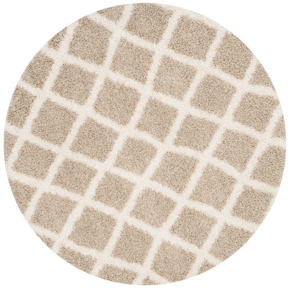 Safavieh Dallas Shag Beige/Ivory 6 ft. x 6 ft. Round Area
