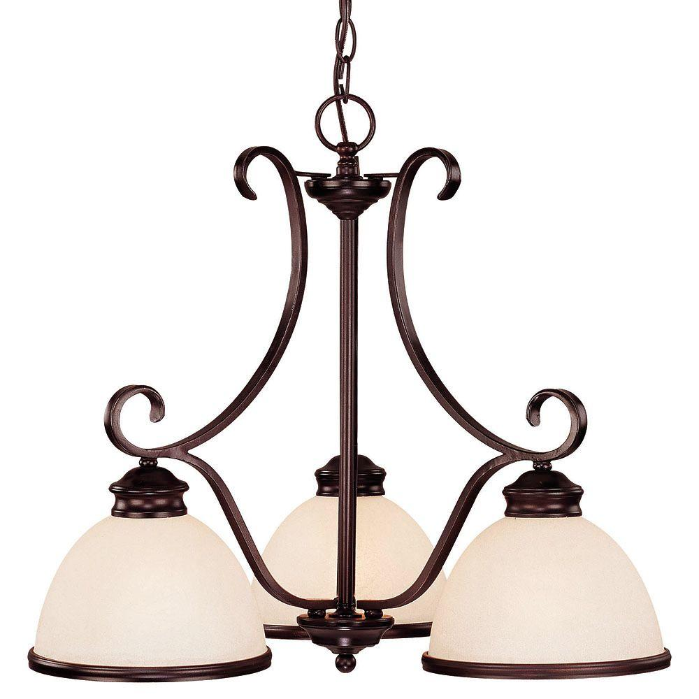 3-Light Chandelier English Bronze Finish Cream Marble Glass