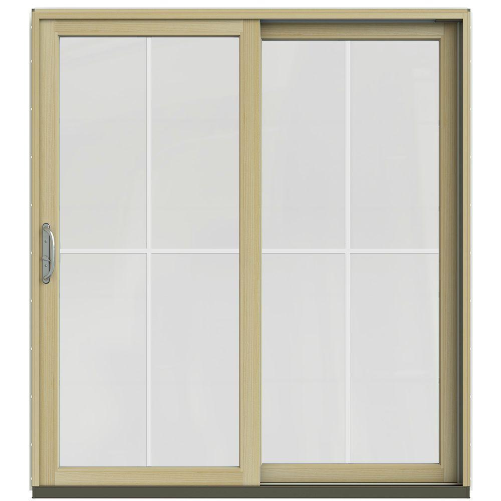 Jeld wen 71 1 4 in x 79 1 2 in w 2500 french vanilla for Wooden sliding french doors
