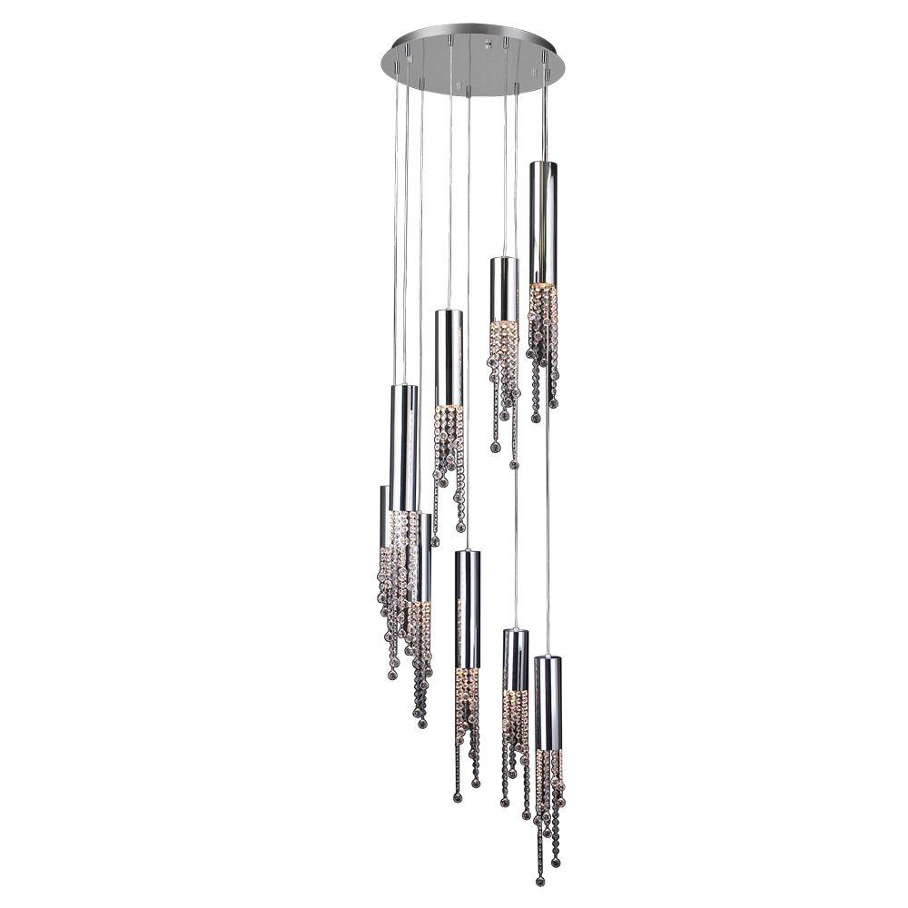 9-Light Polished Chrome Chandelier with Clear Glass Shade