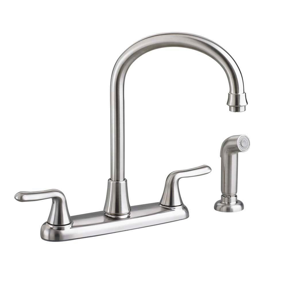American Standard Colony Soft 2 Handle Standard Kitchen Faucet With Side Sprayer And Gooseneck