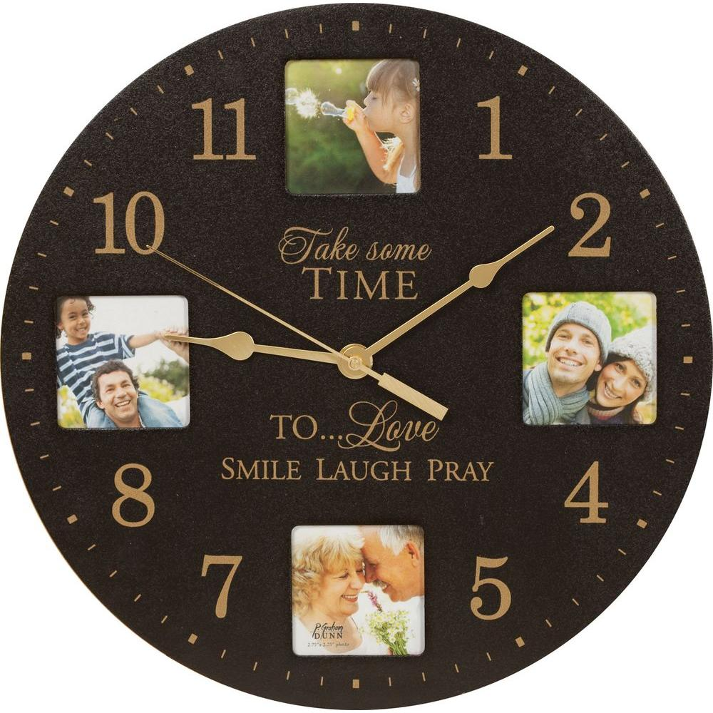 P. Graham Dunn 12 in. Black Wood Wall or Tabletop Clock/Photo Frame