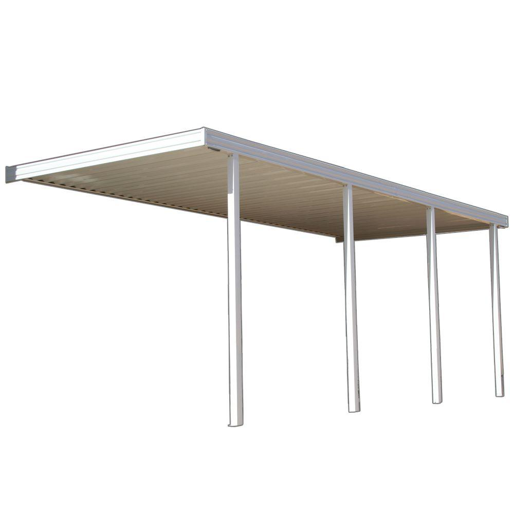 Four Seasons Building Products 20 ft. x 10 ft. White Aluminum Attached Solid Patio Cover with 4 Posts (10 lb. Live Load)