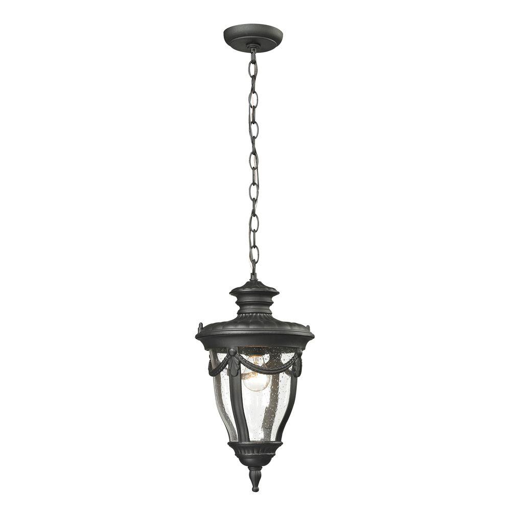 Titan Lighting Langley Collection 1-Light Textured Matte Black Outdoor