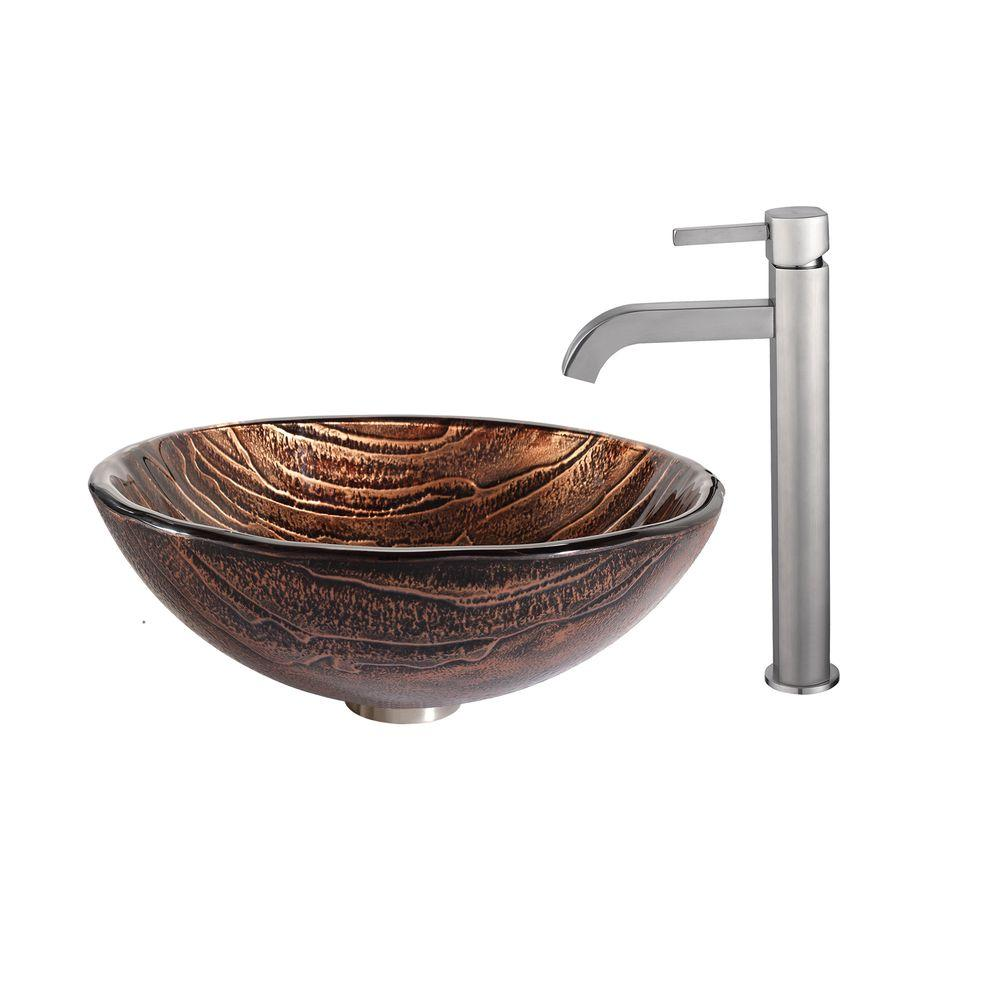 Gaia Glass Vessel Sink in Brown with Ramus Faucet in Satin