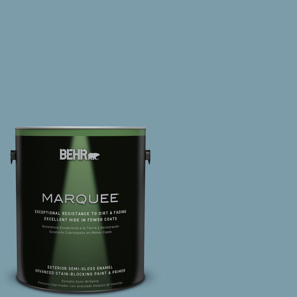 BEHR MARQUEE 1-gal. #S470-4 Dolphin Blue Semi-Gloss Enamel Exterior Paint-545401