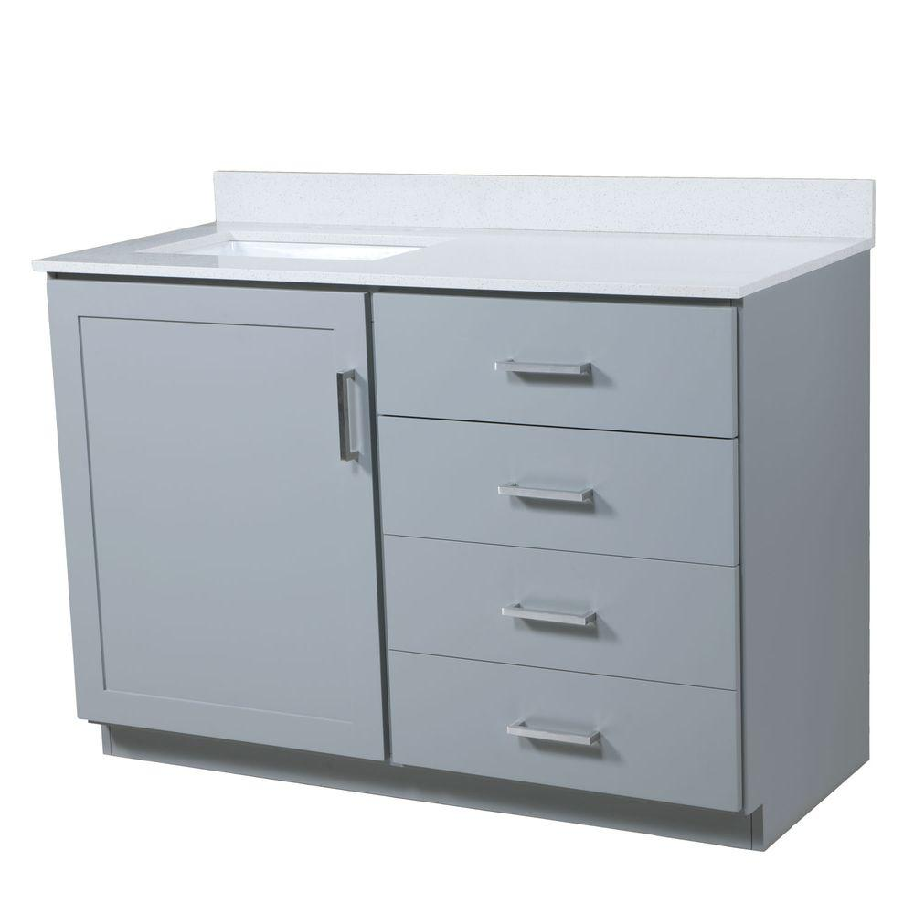 Maykke Liverpool 48.5 in. Wx22 in. D Vanity in Light Gray with Quartz Vanity Top in White with ...