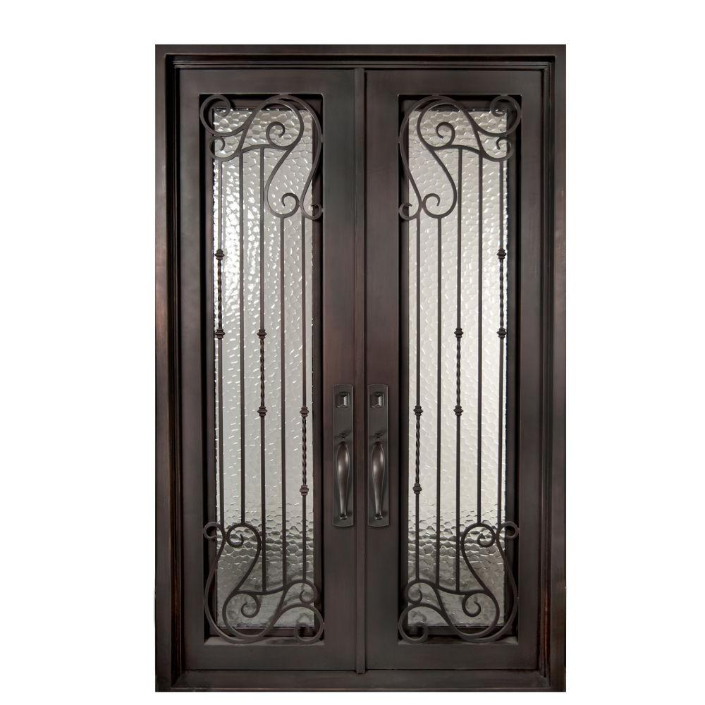 Iron Doors Unlimited 62 in. x 98 in. Armonia Classic Full Lite Painted Oil Rubbed Bronze Decorative Wrought Iron Prehung Front Door