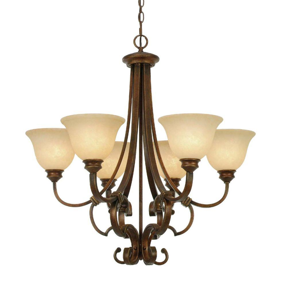 null Hollis Collection 6-Light Champagne Bronze Chandelier