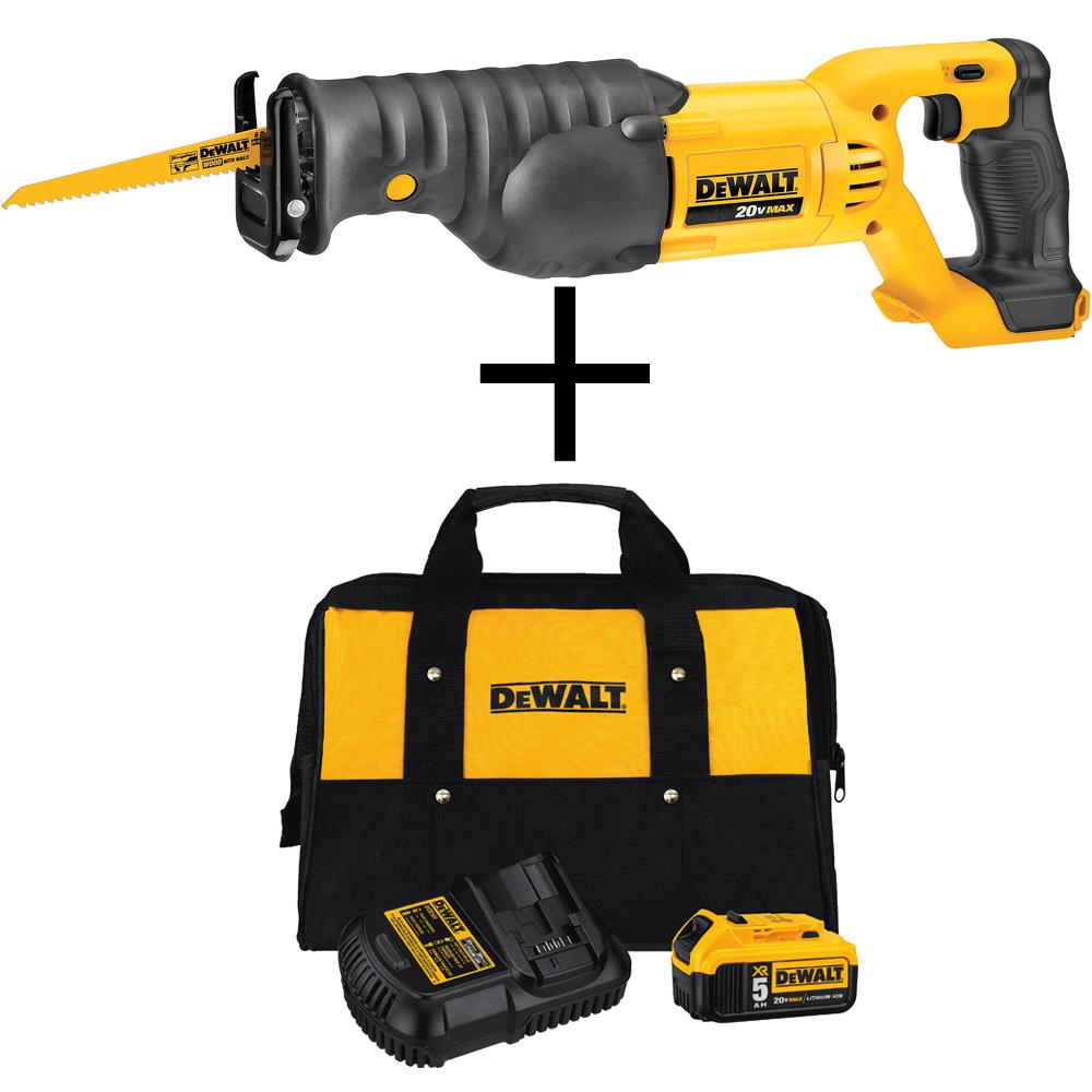 20-Volt Max Lithium-Ion Cordless Reciprocating Saw with Bonus 5.0 Ah XR