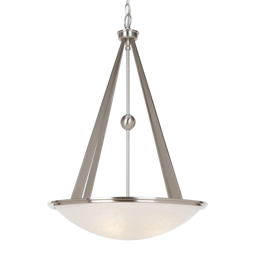 Hampton Bay Architect Collection 3-Light Brushed Nickel Foyer Pendant-DISCONTINUED