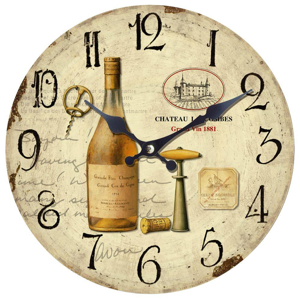 Yosemite Home Decor 14 in. Circular Wooden Wall Clock with Bottle of Wine Print