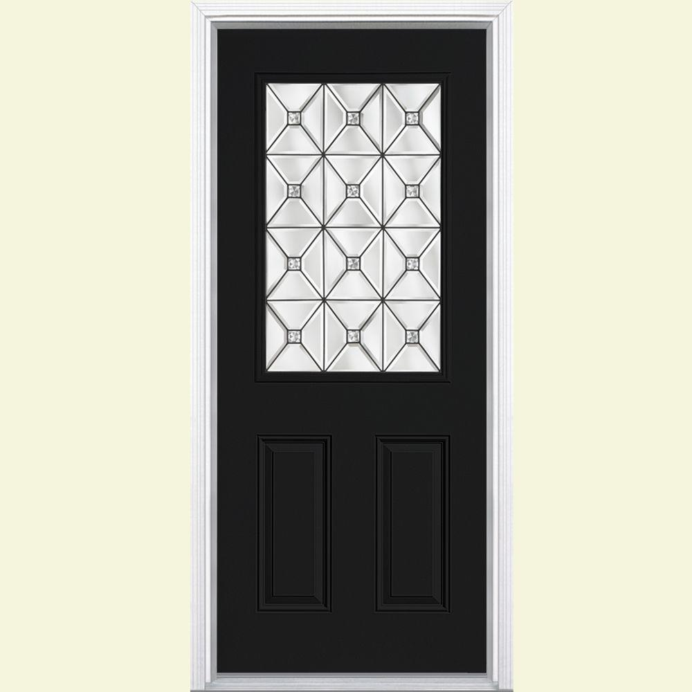 Masonite St Pauls Half Lite Painted Steel Prehung Front Door with Brickmold-DISCONTINUED